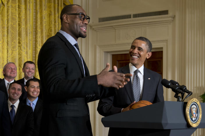 Former President Barack Obama spoke with LeBron James, Chris Paul and others on Wednesday night. (AP/Carolyn Kaster)