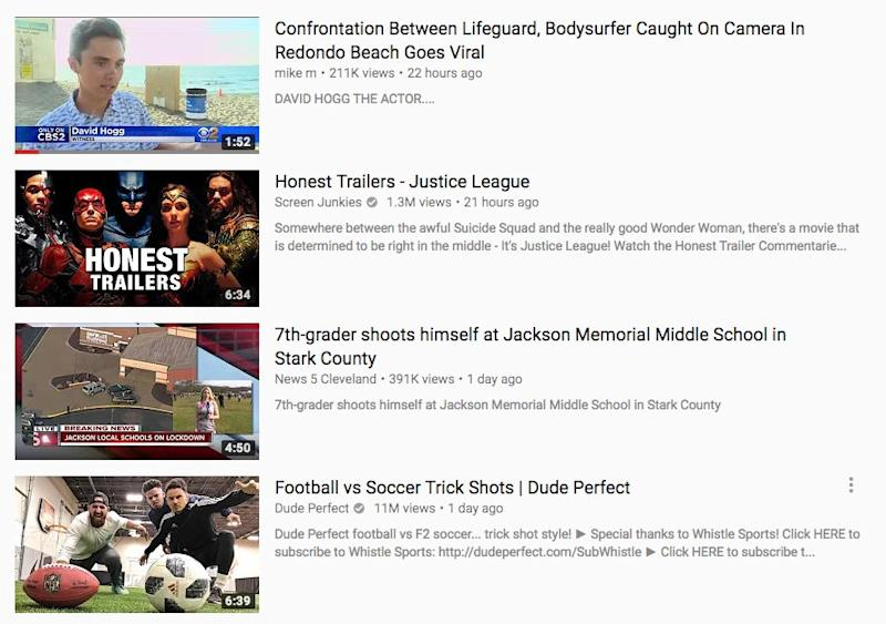 youtube trending florida shooting conspiracy