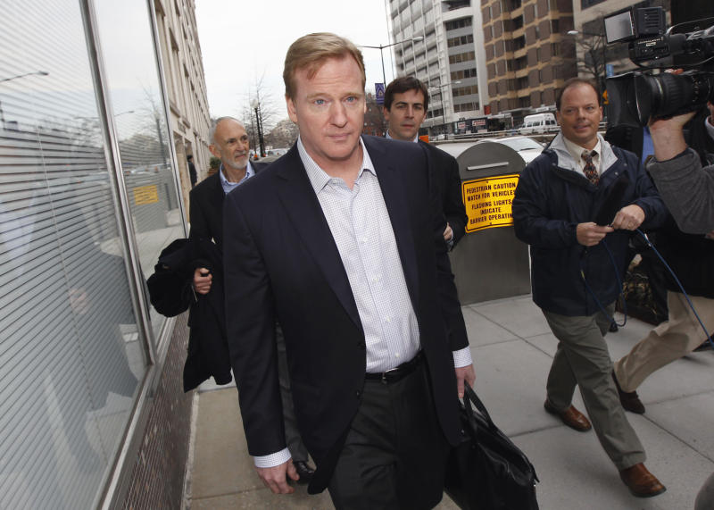 FILE - In this Feb. 18, 2011 file photo, NFL Commissioner Roger Goodell is seen in Washington. The NFL wants all 50 states and the District of Columbia to pass legislation that could help cut down on concussions by youth football players. A quicker route would be through federal legislation, and the NFL backs a bill pending in Congress. But the GOP-led House is unlikely to support that kind of federal role in local matters, so the league sees a bigger opening at the state level. (AP Photo/Alex Brandon, File)