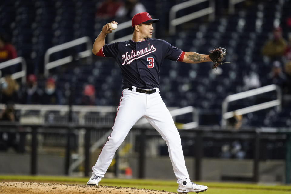 Washington Nationals relief pitcher Hernán Pérez during the ninth inning of a baseball game against the St Louis Cardinals at Nationals Park, Monday, April 19, 2021, in Washington. (AP Photo/Alex Brandon)
