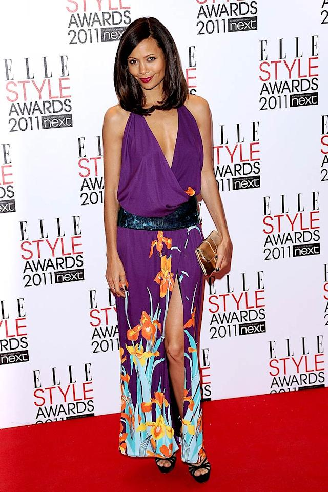 """Thandie Newton looked rather tropical in her plunging, purple, floral print Louis Vuitton dress. Ian Gevan/<a href=""""http://www.gettyimages.com/"""" target=""""new"""">GettyImages.com</a> - February 14, 2011"""