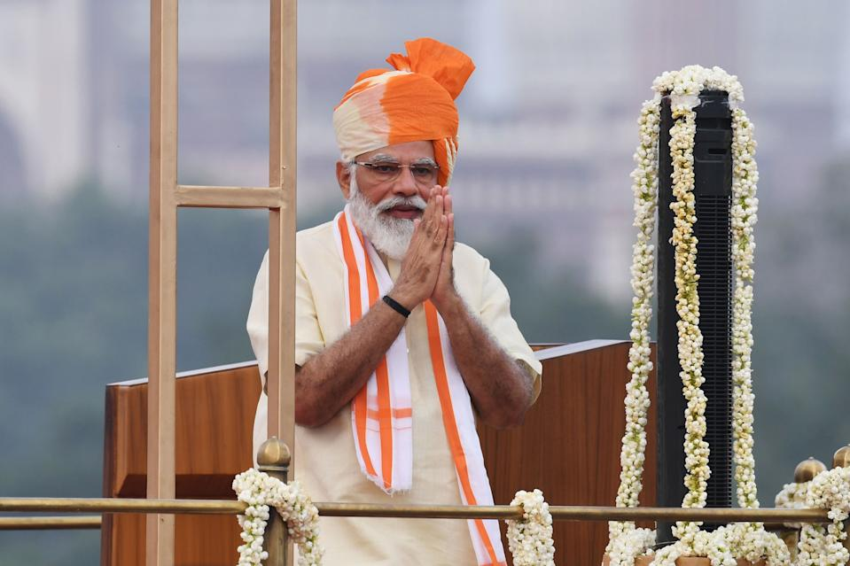 India's Prime Minister Narendra Modi gestures after unfurling the tricolour during a ceremony to celebrate India's 74th Independence Day in New Delhi on August 15, 2020. (Photo by PRAKASH SINGH/AFP via Getty Images)
