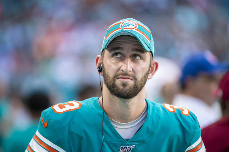 MIAMI GARDENS, FL - DECEMBER 01: Miami Dolphins Quarterback Josh Rosen (3) on the sidelines during the NFL game between the Philadelphia Eagles and the Miami Dolphins at the Hard Rock Stadium in Miami Gardens, Florida on December 1, 2019. (Photo by Doug Murray/Icon Sportswire via Getty Images)