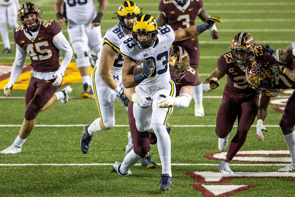 Michigan Wolverines tight end Erick All gets tackled near the goal line after a catch in the second half against Minnesota, TCF Bank Stadium, Oct. 24, 2020.