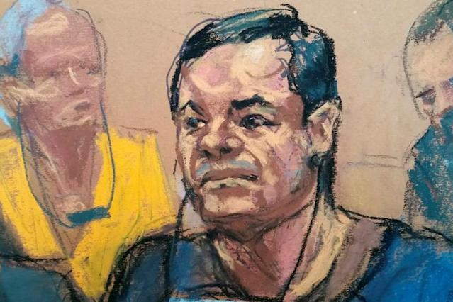 "Joaquin ""El Chapo"" Guzman at the federal courthouse in Brooklyn. (Sketch: Jane Rosenberg/Reuters)"
