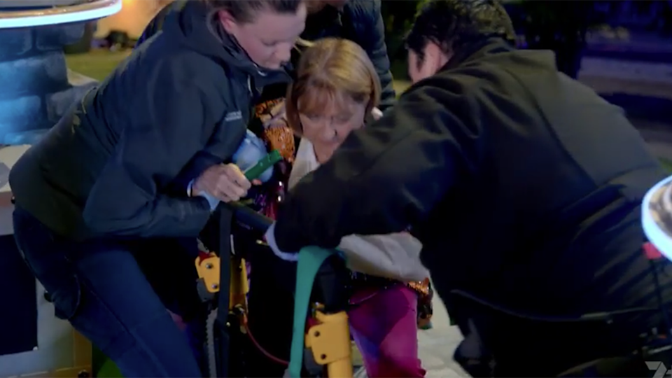 Denise Drysdale carried off electric shock mishap Holey Moley