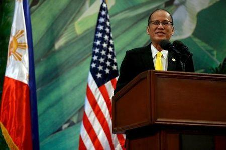 Philippines President Benigno Aquino delivers remarks to the media after meeting with U.S. President Barack Obama alongside the APEC summit in Manila