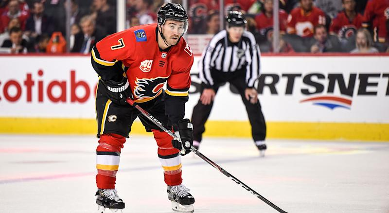 T.J. Brodie is returning to the Calgary Flames' lineup. (Photo by Brett Holmes/Icon Sportswire via Getty Images)