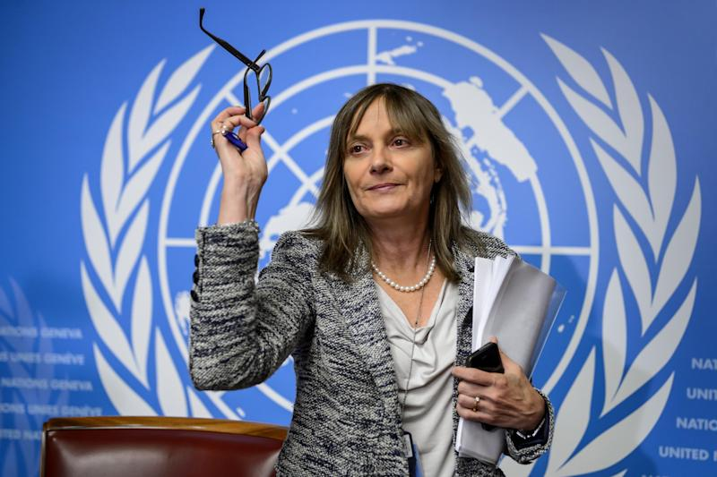 World Health Organization (WHO) Assistant Director General for Health Systems and Innovation Marie Paule Kieny gestures during a press conference on Ebola vaccines on October 21, 2014 at the United Nations offices in Geneva (AFP Photo/Fabrice Coffrini)