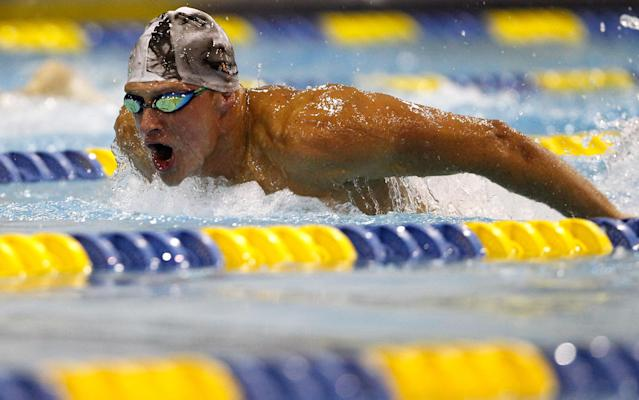 CHARLOTTE, NC - MAY 11: Ryan Lochte competes in the men's 400m IM final during the 2012 Charlotte UltraSwim Grand Prix at the Mecklenburg County Aquatic Center on May 11, 2012 in Charlotte, North Carolina. (Photo by Streeter Lecka/Getty Images)