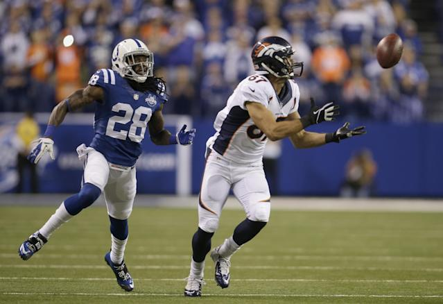 Denver Broncos wide receiver Eric Decker (87) makes a catch against Indianapolis Colts' Greg Toler (28) during the first half of an NFL football game, Sunday, Oct. 20, 2013, in Indianapolis. (AP Photo/AJ Mast)