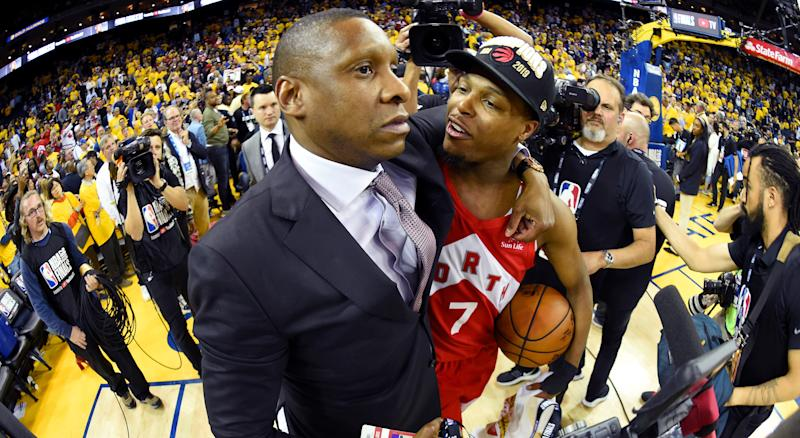 The Alameda County District Attorney's Office revealed shortly after the 2019-20 NBA season began that Masai Ujiri is off the hook. (Photo by Andrew D. Bernstein/NBAE via Getty Images)