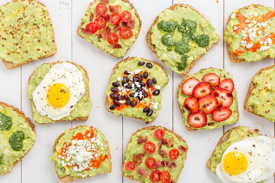 """<p>Nine amazing ways to enjoy a slice.<br></p><p>Get the recipes from <a href=""""https://www.delish.com/cooking/videos/a45499/avocado-toast-cheat-sheet/"""" rel=""""nofollow noopener"""" target=""""_blank"""" data-ylk=""""slk:Delish"""" class=""""link rapid-noclick-resp"""">Delish</a>.</p>"""