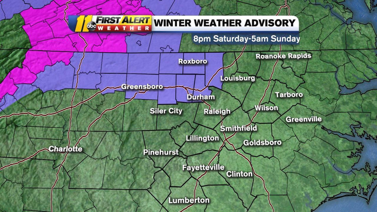 The transition to a wintry mix of rain/sleet/snow may also lead to slick spots in some areas. A Winter Weather Advisory has been expanded to include Durham, Orange counties as well as Alamance, Person and Granville through early Sunday.