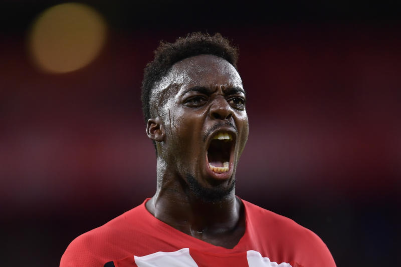 Athletic Bilbao's Inaki Williams celebrates after scoring his goal during the Spanish La Liga soccer match between Athletic Bilbao and Valladolid at San Mames stadium in Bilbao, northern Spain, Sunday, Oct. 20, 2019. (AP Photo/Alvaro Barrientos)