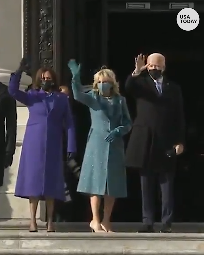President-elect Joe Biden and Vice President-elect Kamala Harris ascend the steps of the Capitol before Inauguration.