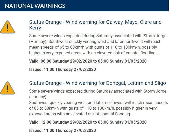 Severe weather would impact on Ireland over (Met Eireann)