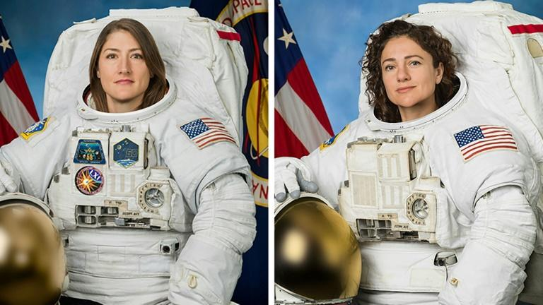 This undated combination photo obtained from NASA shows astronauts Christina Koch (L) and Jessica Meir