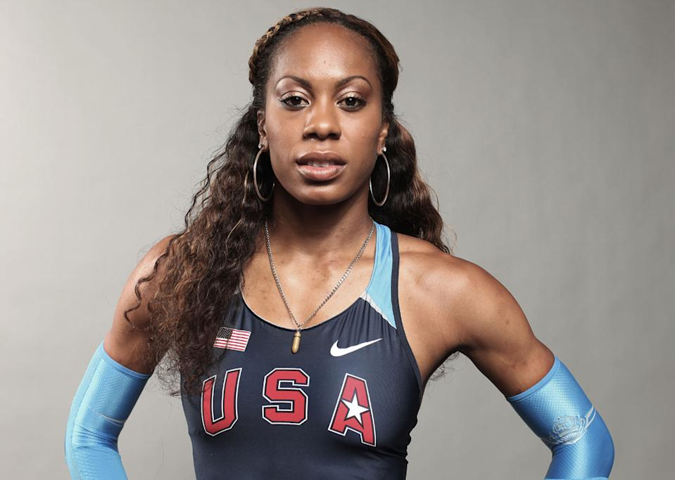 """<b>Sanya Richards-Ross</b><br> Richards-Ross reveals that wearing a lucky charm is part of her pre-race ritual - """"I always put my bullet necklace on. My mom gave it to me when I was in the 7th grade."""" It was certainly working for her at the Olympic stadium on Sunday when she displayed some bullet speed to win the Women's 400m final. (Photo by Nick Laham/Getty Images)"""
