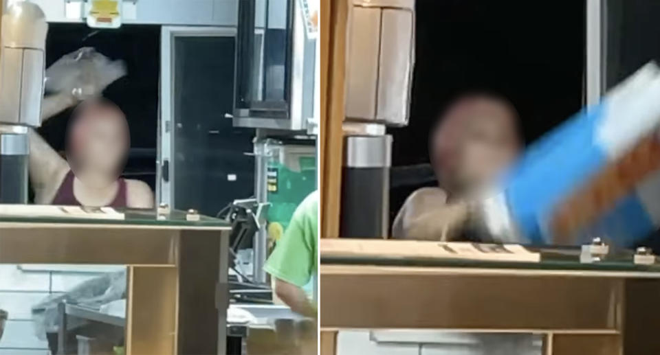 A screenshot of a video posted to Facebook showing the woman throwing things in McDonald's drive-thru. Source: Facebook/Cameron Frandsen