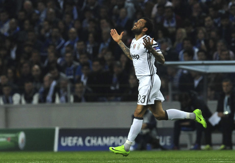 Dani Alves in action. Photo: AP