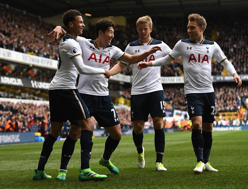 Tottenham celebrate Son making it 2-0
