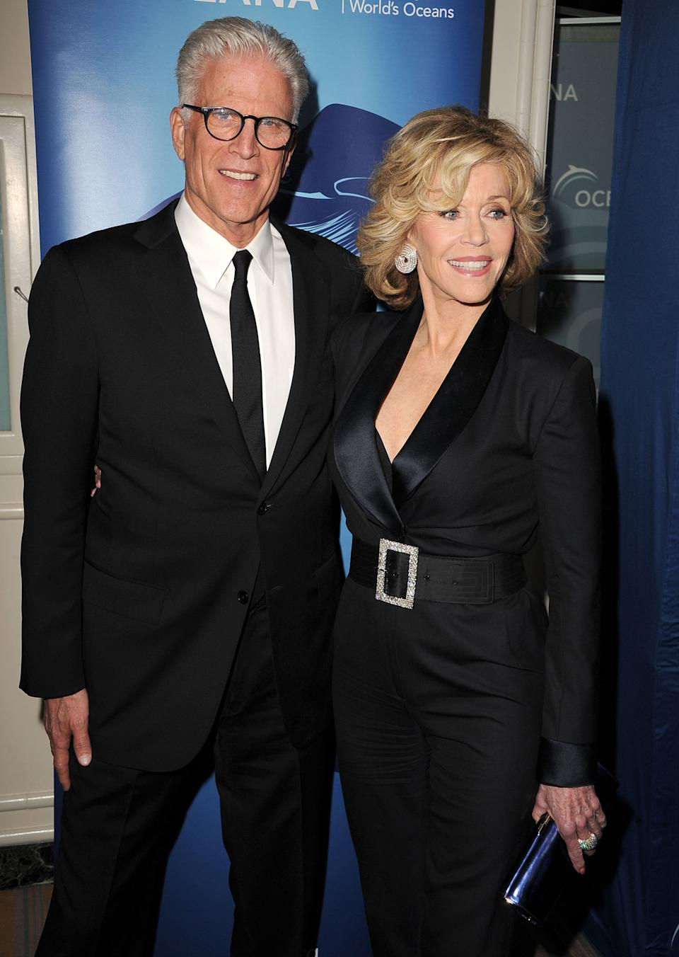 BEVERLY HILLS, CA - OCTOBER 30:  Ted Danson and Jane Fonda arrives at the Oceana Partners Award Gala With Former Secretary Of State Hillary Rodham Clinton and HBO CEO Richard Pleple at Regent Beverly Wilshire Hotel on October 30, 2013 in Beverly Hills, California.  (Photo by Steve Granitz/WireImage)