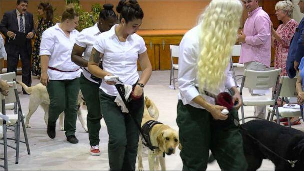 PHOTO: Puppy trainers from Puppies Behind Bars walking their dogs from the graduation ceremony at Bedford Hills Correctional Facility for Women. (ABC)