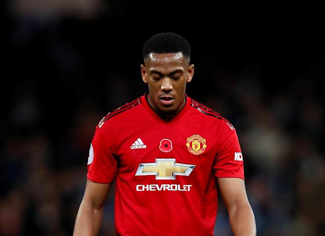 """Soccer Football - Premier League - Manchester City v Manchester United - Etihad Stadium, Manchester, Britain - November 11, 2018 Manchester United's Anthony Martial looks dejected after the match Action Images via Reuters/Jason Cairnduff EDITORIAL USE ONLY. No use with unauthorized audio, video, data, fixture lists, club/league logos or """"live"""" services. Online in-match use limited to 75 images, no video emulation. No use in betting, games or single club/league/player publications. Please contact your account representative for further details."""