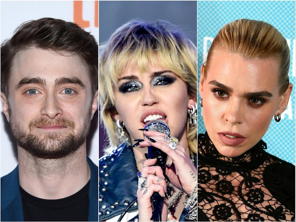 Daniel Radcliffe, Miley Cyrus and Billie Piper are three of the former child stars to have spoken publicly about their experiences (Getty)