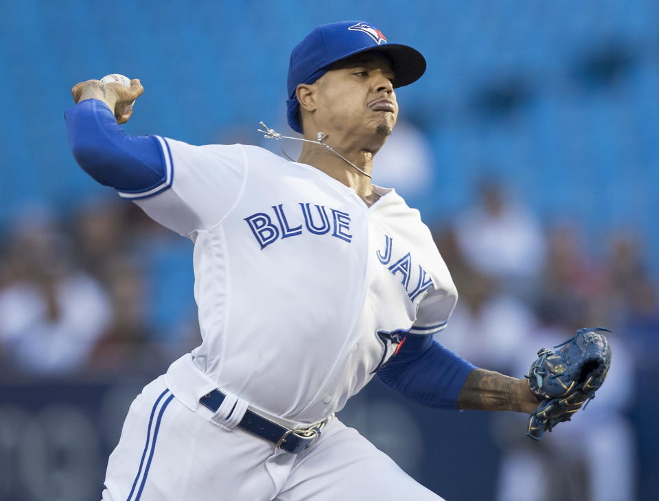 Toronto Blue Jays starting pitcher Marcus Stroman throws against the Arizona Diamondbacks in a baseball game Friday, June 7, 2019, in Toronto. (Fred Thornhill/The Canadian Press via AP)