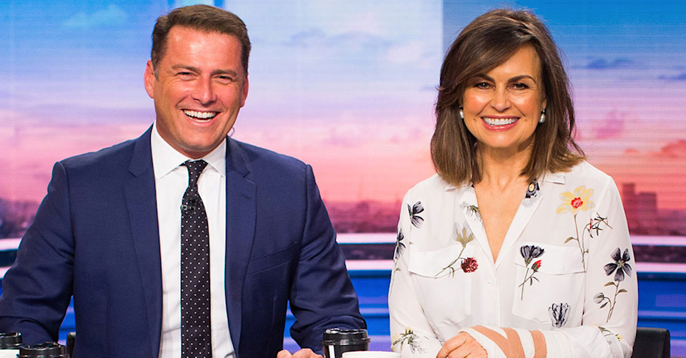 Karl Stefanovic and Lisa Wilkinson on set of the Today show