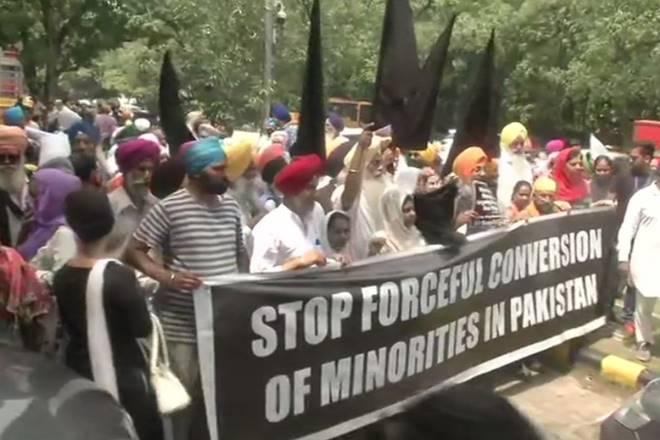 Members of Sikh community protest against forceful conversion of minorities in Pakistan. (ANI photo)