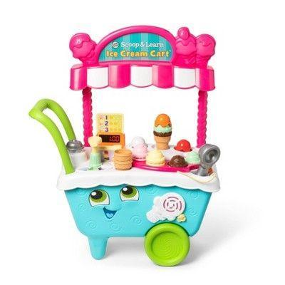 """<p><strong>LeapFrog</strong></p><p>target.com</p><p><strong>$35.99</strong></p><p><a href=""""https://www.target.com/p/-/A-52139245"""" rel=""""nofollow noopener"""" target=""""_blank"""" data-ylk=""""slk:Shop Now"""" class=""""link rapid-noclick-resp"""">Shop Now</a></p><p>This set packs in a lot: eight ice cream scoops, three toppings, three cones, and cards with <strong>ordering instructions and activity challenges</strong>. The magnetic scooper recognizes the colors and flavors, making it an interactive play experience for children with 200+ phrases and sounds. <em>Ages 2+</em><br></p>"""