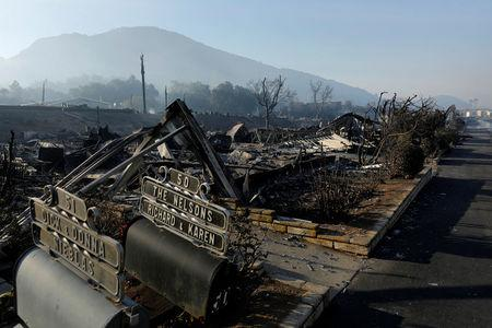 Burned mobile homes are seen at the Monserate Country Club after the Lilac Fire, a fast moving wildfire, swept through their community in Bonsall, California, U.S., December 8, 2017.      REUTERS/Mike Blake