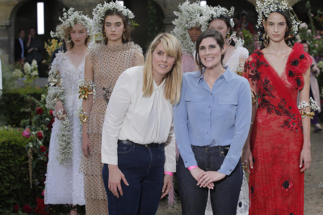 Some of the Mullleavys' work at the Rodarte show for Paris Fashion Week 2017. (Photo: Getty Images)