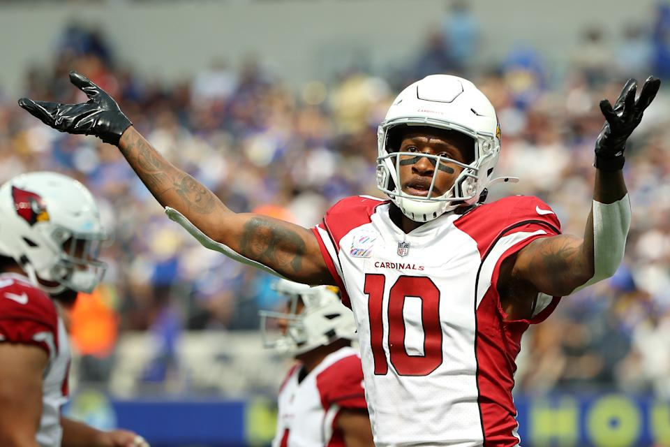 INGLEWOOD, CALIFORNIA - OCTOBER 03: DeAndre Hopkins #10 of the Arizona Cardinals reacts after a touchdown scored during the second quarter against the Los Angeles Rams at SoFi Stadium on October 03, 2021 in Inglewood, California. (Photo by Katelyn Mulcahy/Getty Images)