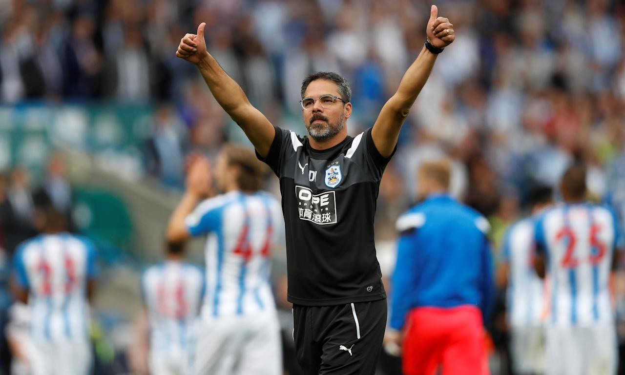 Huddersfield Town's manager David Wagner celebrates after seeing his side beat Newcastle 1-0 in their first home Premier League game.