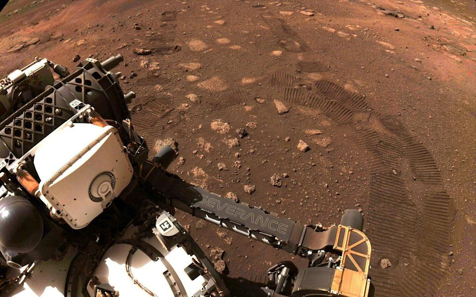 Wheel tread marks are left in the soil of Jezero Crater on Mars, as NASA's Mars rover Perseverance drives on Martian surface for the first time - NASA/JPL-Caltech/Handout via Reuters
