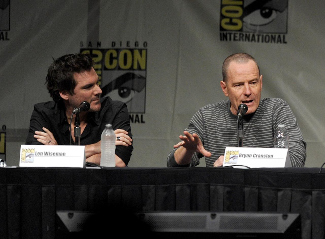 "SAN DIEGO, CA - JULY 13:  Director Len Wiseman (L) and actor Bryan Cranston speak during Sony's ""Total Recall"" panel during Comic-Con International 2012 at San Diego Convention Center on July 13, 2012 in San Diego, California.  (Photo by Kevin Winter/Getty Images)"