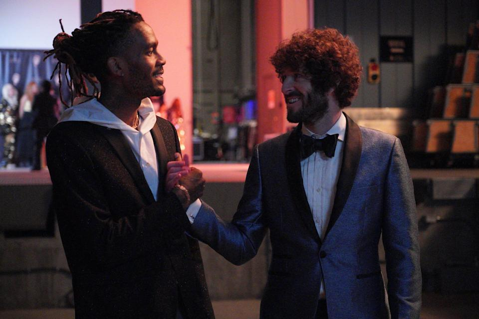 """Hype man GaTa (GaTa) is never too far from good friend Dave (Dave Burd), although there is tension in the relationship in Season 2 of FXX's """"Dave."""""""