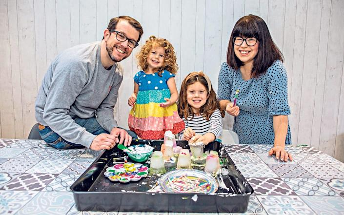 Claire Balkind and her husband, Russell, with their daughters, Maisie, five, and Georgie, two - Jeff Gilbert