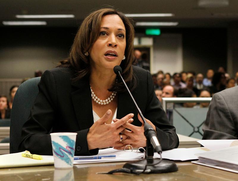 FILE - In this this May 10, 2012 file photo, California Attorney General Kamala Harris appears before an Assembly committee at the Capitol in Sacramento, Calif. Harris was in Washington Wednesday, Feb. 27, 2013, to lobby Congress and the Justice Department for more money to hire state and local law enforcement officers. (AP Photo/Rich Pedroncelli, File)