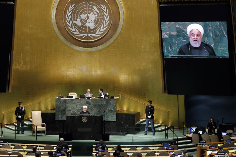 Iran's President Hassan Rouhani addresses the 73rd session of the United Nations General Assembly, at U.N. headquarters, Tuesday, Sept. 25, 2018. (AP Photo/Richard Drew)