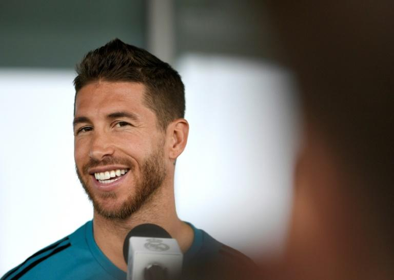 Real Madrid's Spanish defender Sergio Ramos addresses journalists during Real Madrid's Media Open Day ahead of their UEFA Champions league final footbal match against Liverpool FC, in Madrid on May 22, 2018