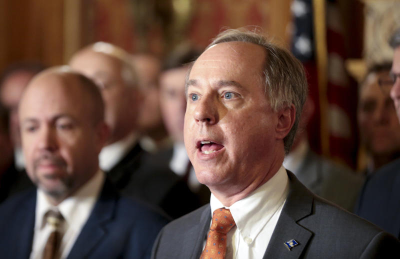 State Assembly Speaker Robin Vos, R-Rochester, holds a press conference in the Assembly parlor, Tuesday Dec. 4, 2018 at the Capitol in Madison. The Senate and Assembly are set to send dozens of changes in state law to Gov. Scott Walker's desk. (Steve Apps/Wisconsin State Journal via AP)