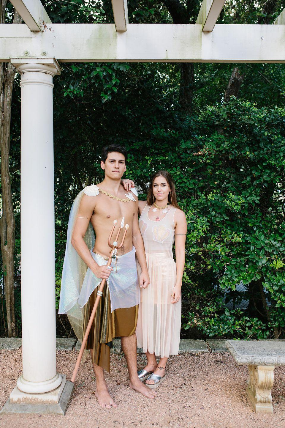 """<p>Convince your bestie to show little skin and go as mermaids. All you need is a few iridescent accessories to make this costume a reality. </p><p><strong>Get the tutorial at <a href=""""https://theeffortlesschic.com/diy-halloween-mermaid-merman-couples-costume/"""" rel=""""nofollow noopener"""" target=""""_blank"""" data-ylk=""""slk:The Effortless Chic"""" class=""""link rapid-noclick-resp"""">The Effortless Chic</a>.</strong></p>"""
