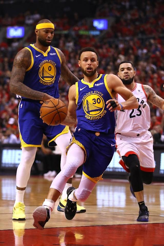 Golden State star guard Stephen Curry drives to the basket in game five of the NBA Finals (AFP Photo/Gregory Shamus)