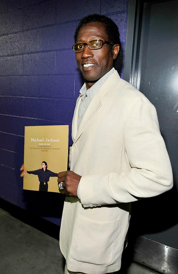 """Wesley Snipes also showed up to pay his respects. The actor appeared in Michael's 1987 """"Bad"""" video. Kevin Mazur/MJ Memorial/<a href=""""http://www.wireimage.com"""" target=""""new"""">WireImage.com</a> - July 7, 2009"""