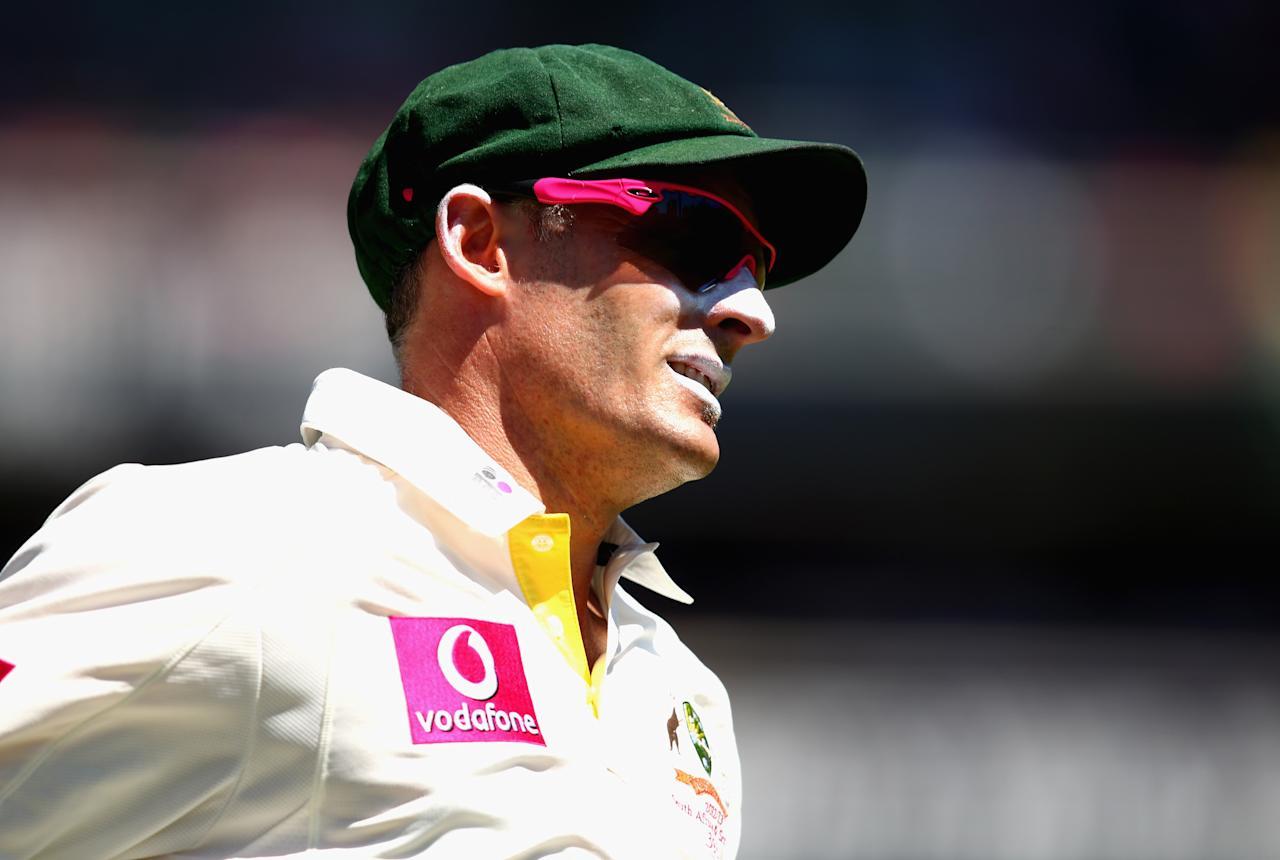SYDNEY, AUSTRALIA - JANUARY 05: Michael Hussey of Australia looks on during day three of the Third Test match between Australia and Sri Lanka at Sydney Cricket Ground on January 5, 2013 in Sydney, Australia.  (Photo by Ryan Pierse/Getty Images)